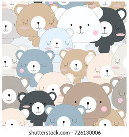 Vintage seamless cute teddy bear blue grey pastel baby kid cartoon pattern vector hand draw doodle comic art illustration,for invitation card background or printed on textile or wrap paper