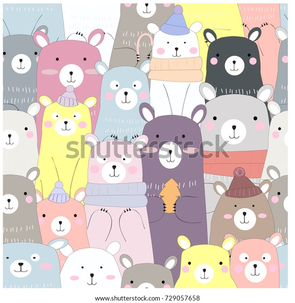 Vintage seamless cute winter bear blue grey pastel baby teddy cartoon pattern vector hand draw doodle comic art illustration,for invitation happy new year or merry Christmas card background