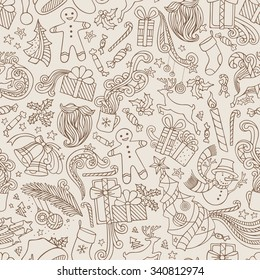 Vintage Seamless Doodles Christmas Pattern. Christmas tree and baubles, Santa sock, hat, beard, mistletoe, gifts, candy canes, snowman, swirls, gingerbread man, deer, bells and ribbons.
