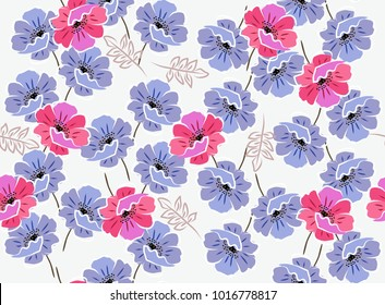 Vintage seamless floral pattern with blue anr pink poppies on white background. Ceramic tile, print for fabric. Vector summer design.