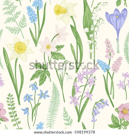 Vintage Seamless Floral Pattern Spring Flowers Stock Vector Royalty