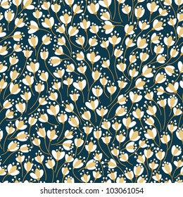 Vintage seamless floral pattern. Vector flowers texture.