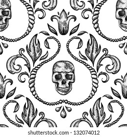 Vintage seamless ornament with skull in baroque style. EPS 8 vector illustration.