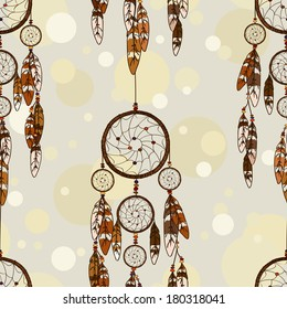 Vintage seamless pattern of American Indians dreamcatcher