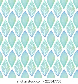 Vintage seamless pattern based on geometric shapes. Watercolor paint. Can be used as decoration for the gift boxes, wallpapers, backgrounds, web sites. Ornament with green leaves. Nature theme.