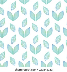 Vintage seamless pattern based on geometric shapes. Watercolor paint. Can be used as decoration for the gift boxes, wallpapers, backgrounds, web sites. The ornament with green leaves. Nature theme.