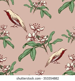 Vintage seamless pattern with birds and white flowers