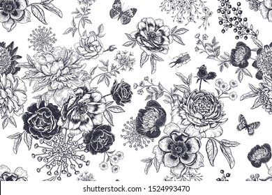 Vintage seamless pattern. Bouquets of garden flowers, beetles and butterflies. Beautiful garden peonies, branches and leaves. Black and white. Floral vector illustration. Wallpaper, paper, textile