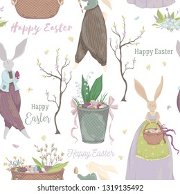 Vintage seamless pattern with bunny characters and design elements for the Easter holiday. Easter bunny, eggs, flowers, basket, spring tree, butterflies, chick. Vector illustration in watercolor style