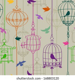Vintage seamless pattern of colorful birds and cages