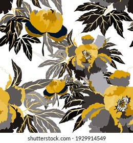 Vintage seamless pattern with colorful peonies for fabric design. Beautiful floral texture. Summer, spring background.