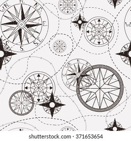 Vintage seamless pattern with compasses.