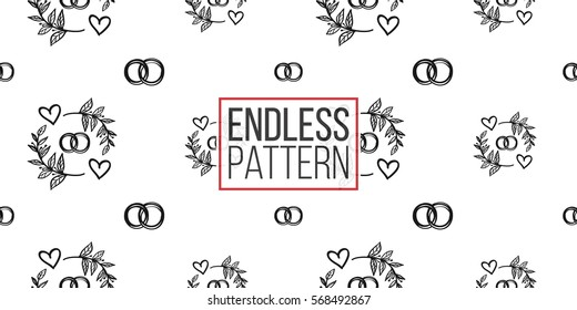 Vintage seamless pattern with couple of rings and couple rings. Background for eco forest wedding or autumn celebrations. Black floral rustic symbols and elements on white hand drawing style.