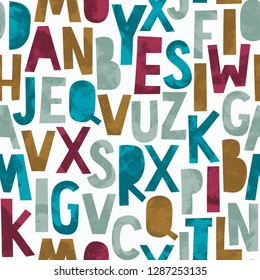 Vintage seamless pattern - cute alphabet. Vector background. Perfect for kids apparel, fabric, textile, nursery decoration, wrapping paper.