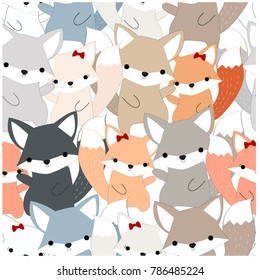 Vintage seamless pattern cute dog or foxy fox wolf, blue grey paste cartoon for background, vector by hand draw doodle comic art, animal illustration