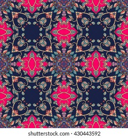 Vintage seamless pattern with decorative flowers, birds and hearts on bright pink background. Can be used for wallpapers, textiles, fabrics, textures, wrapping paper, card, invitation.