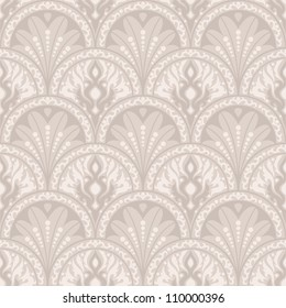 Vintage seamless pattern. EPS-8, endless floral ornament in vintage style. Original author's design, hand-drawn.