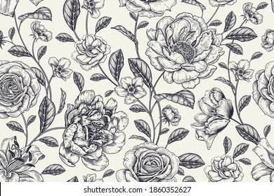 Vintage seamless pattern. Floral black and white background. Garden flowers roses and peonies. Handmade graphics. Victorian style. Textiles, paper, wallpaper decoration. Ornamental cover. Vector.