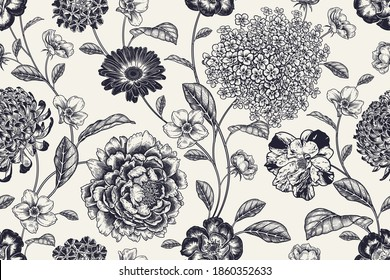 Vintage seamless pattern. Floral black white background. Flowers roses, peonies, hydrangea, chrysanthemum. Handmade graphics. Victorian style. Textiles, paper, wallpaper decoration. Ornamental cover.