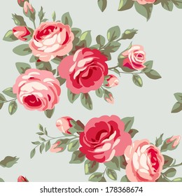 Vintage seamless pattern with flowers. Background with pink blossoming roses