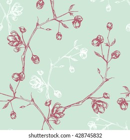 Vintage seamless pattern with flowers on branches