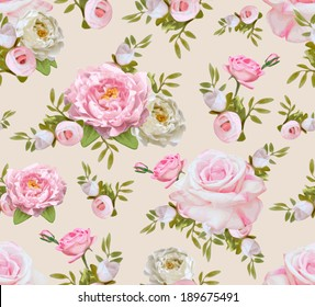 Vintage seamless pattern with flowers. Vector illustration for your design
