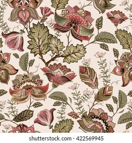 Vintage seamless pattern, french provence style. Floral pattern. Decorative flowers and plants wallpaper. Design for fabric, carpet, cover, textile, web