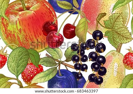 Vintage Seamless Pattern Fruits Apple Cherry Stock Vektorgrafik