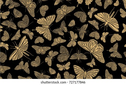 Vintage seamless pattern with gold embroidered dragonflies and butterflies for textile or book covers, manufacturing, wallpapers, print, gift wrap