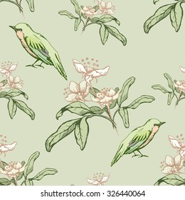 Vintage seamless pattern with green birds and flowers