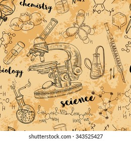 Vintage seamless pattern old chemistry laboratory with microscope, tubes and formulas. Vector retro hand drawn illustration in sketch style