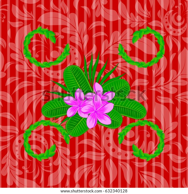 Vintage seamless pattern on a red background. Hand written vector plumeria flowers.