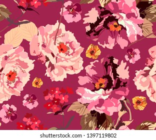 Vintage seamless pattern with peonies and roses. Floral old style texture with pink red and beige big flowers. Slavic floral background. Roses with oil brush effect. Fashionable trendy pattern.