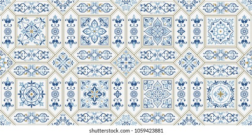 Vintage seamless pattern in Portugal style. Azulejo. Majolica pottery tile, blue and white azulejo, original traditional Portuguese and Spain decor. Vector illustration