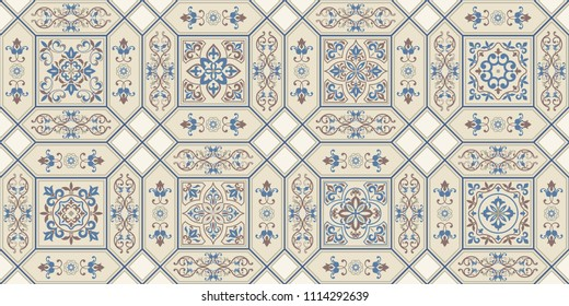 Vintage seamless pattern in Portugal style. Azulejo. Seamless patchwork tile in blue, brown and gray. Endless pattern can be used for ceramic tile, wallpaper, linoleum, textile, web page background.