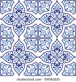 Vintage seamless pattern in Portugal style. Azulejo. Seamless  tile in blue and white colors. Endless pattern can be used for ceramic tile, wallpaper, linoleum, textile, web page background
