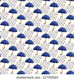 Vintage seamless pattern with rain drops and umbrellas. Watercolor paint. Autumn theme.