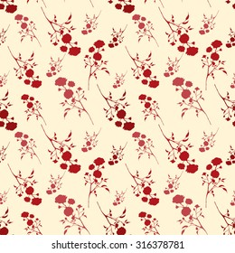 Vintage seamless pattern with red roses