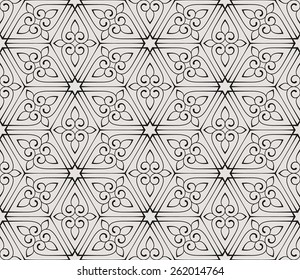 Vintage seamless pattern with scrolls and curls.