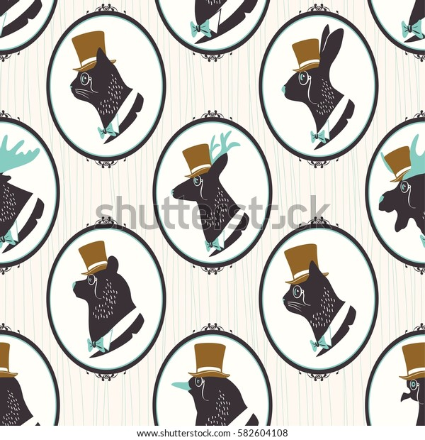 Vintage seamless pattern with silhouette of animals