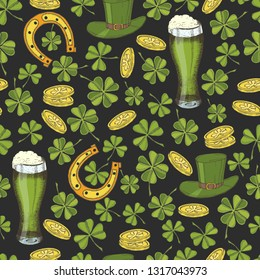 Vintage seamless pattern for St Patrick's day. St. Patrick's hat, horseshoe, four-leaf clover, green beer and gold coins. Pattern can be used for wallpaper, web page, surface textures, package