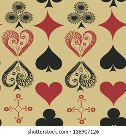 Vintage seamless pattern of suits of playing cards