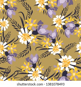 Vintage Seamless pattern with tulips flowers. Hand drawing illustration with wild floral for fashion ,fabric, and all prints on pastel background colors. Vector