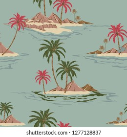 Vintage Seamless pattern vector illustrationColorful Summer Tropical island hand drawing style design for fashion ,fabric,wallpaper,web and all prints on retro blue  background color