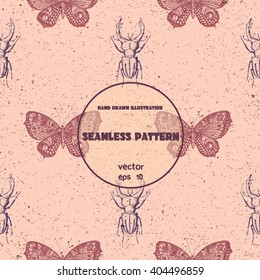 Vintage seamless pattern. Vector sketch of butterfly and stag beetle. Hand drawn illustration in graphic style.