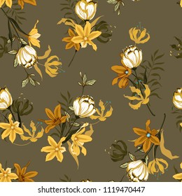 Vintage Seamless pattern vector with tulips flowers. Hand drawing illustration with wild floral for fashion ,fabric, and all prints on brown background colors.