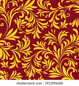 Vintage seamless patterns. Gold leaves on red background. Vector illustration. Good print for wrapping paper, packaging design, wallpaper, ceramic tiles, and textile