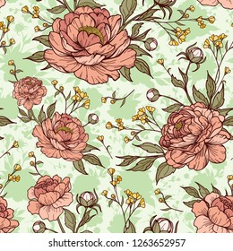 Vintage seamless peony flower with buds, silhouette and leaves. Vector illustration. Peony elements. Cartoonish style. Perfect for print, textile, cards and apparels.