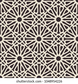 Vintage seamless texture with arabic geometric ornament. Vector retro pattern
