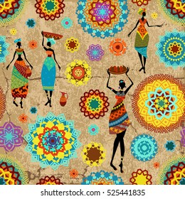 vintage seamless texture with colorful arabesques and lovely african women